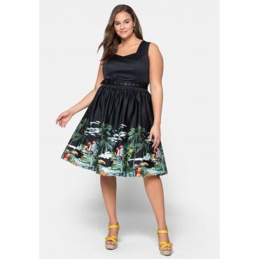 Kleid aus Satin mit tropischem Druck am Saum, schwarz bedruckt, Gr.44-58