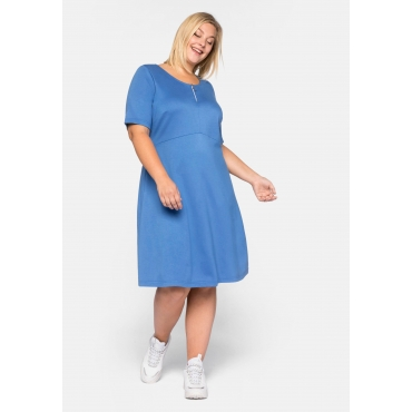 Kleid Basic aus Interlock in kniefreier Länge, azurblau, Gr.44-58