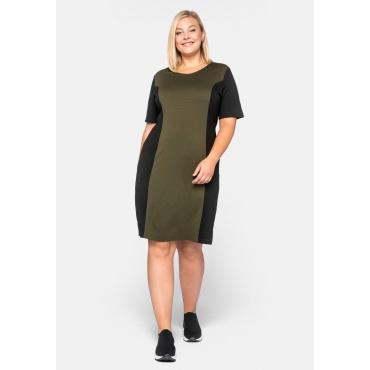 Kleid Basic aus Interlock mit Kontrasteinsätzen, dunkelkhaki, Gr.44-58