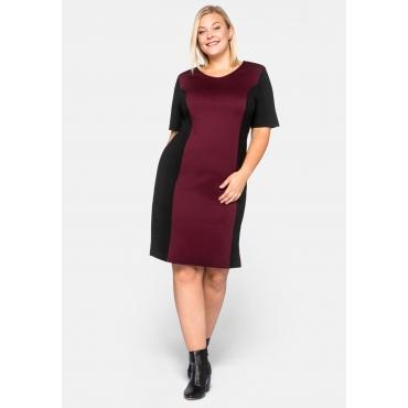 Kleid Basic aus Interlock mit Kontrasteinsätzen, weinrot, Gr.44-58