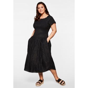 Kleid gesmokt mit eingewebtem Glanzfaden, schwarz, Gr.44-58