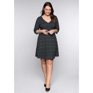 Große Größen: Kleid im Allover-Pünktchen-Design, schwarz-weiß, Gr.44-58