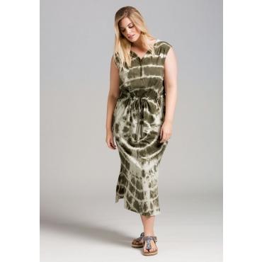 Große Größen: Kleid im Batik-Look, dunkelkhaki, Gr.44-58