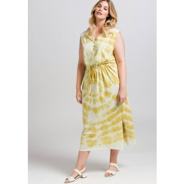 Große Größen: Kleid im Batik-Look, hellgelb, Gr.44-58