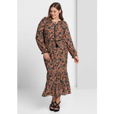 Große Größen: Kleid im Boho-Stil, pfirsichrosé bedruckt, Gr.40-58