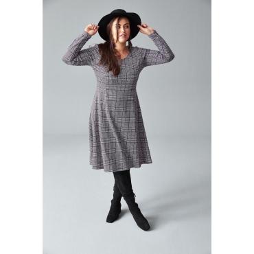 Große Größen: Kleid im Glencheck-Muster, schwarz-grau, Gr.44-58