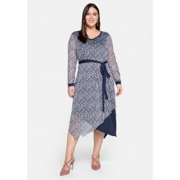 Kleid im Lagenlook, mit Zipfelsaum, weiß bedruckt, Gr.44-58