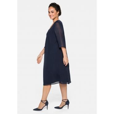 Kleid im Layerlook, aus Chiffon und Viskose, marine, Gr.40-58