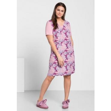 Große Größen: Kleid im Materialmix, rosé bedruckt, Gr.44-58