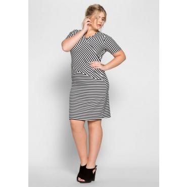 Große Größen: Kleid im Streifen-Design, marine-weiß, Gr.40-58