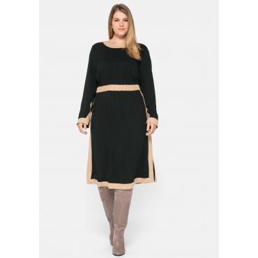 Kleid in A-Linie, mit Kontrastdetails und Seitenschlitzen, schwarz, Gr.44-58