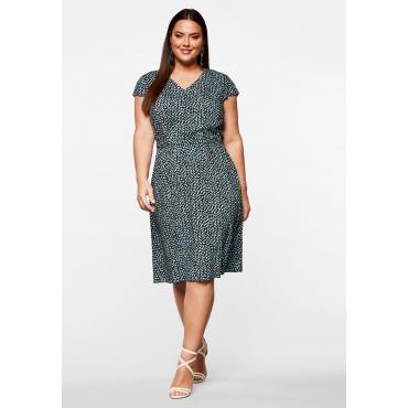 Kleid in A-Linie mit V-Ausschnitt und Minimalprint, schwarz gemustert, Gr.44-58