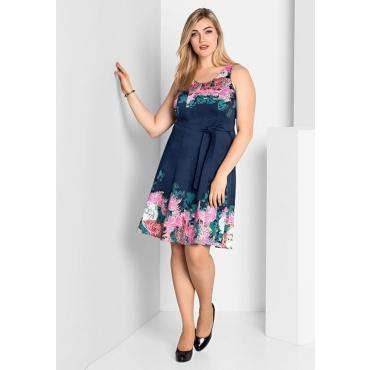 Große Größen: Kleid in Bahnenform, dunkelblau bedruckt, Gr.40-58
