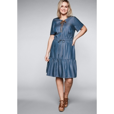 Große Größen: Kleid in Denimoptik aus Lyocell, blue Denim, Gr.44-58