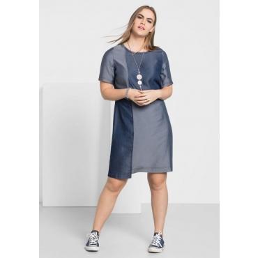 Große Größen: Kleid in Jeansoptik mit Rundhalsausschnitt, dark blue used Denim, Gr.40-58