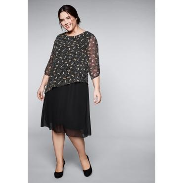 Große Größen: Kleid in leichter A-Linie mit 3/4-Ärmeln, schwarz gemustert, Gr.44-58