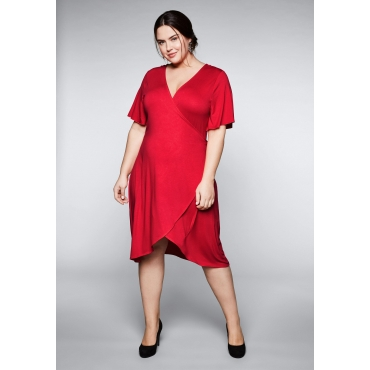 Große Größen: Kleid in raffinierter Wickeloptik, mohnrot, Gr.44-58
