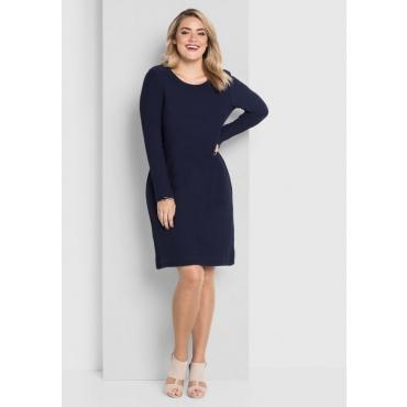 Große Größen: Kleid in Waffelpiqué-Optik, marine, Gr.40-58