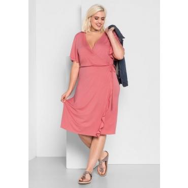 Große Größen: Kleid in Wickel-Optik, guave, Gr.44-58