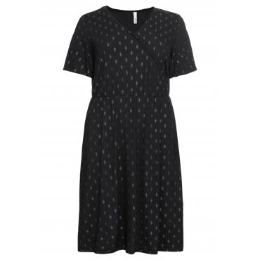 Kleid in Wickeloptik, mit dezentem Glitzerprint, schwarz bedruckt, Gr.44-58