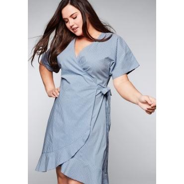 ead21a0cbf899e Große Größen: Kleid in Wickeloptik mit Volants und Bindeband,  hellblau-weiß, Gr