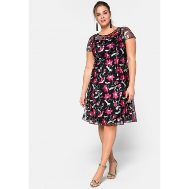 Kleid Kurzarm aus Mesh, mit floralem Alloverdruck, schwarz gemustert, Gr.44-58
