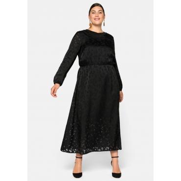 Kleid lang, in Ausbrenner-Optik, mit Schlitz vorn, schwarz, Gr.44-58