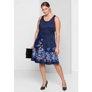 Große Größen: Kleid, marine bedruckt, Gr.40-58