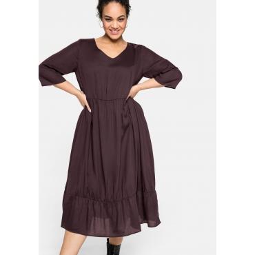 Kleid mit 3/4-Ärmel und Volant, aus ECOVERO™, burgund, Gr.40-58