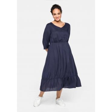 Kleid mit 3/4-Ärmel und Volant, aus ECOVERO™, marine, Gr.40-58