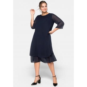 Kleid mit 3/4-Ärmeln und A-Linien-Schnitt, marine, Gr.44-58