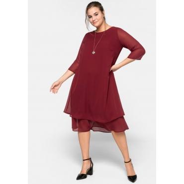 Kleid mit 3/4-Ärmeln und A-Linien-Schnitt, rubinrot, Gr.44-58