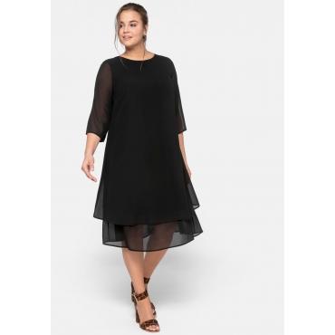 Kleid mit 3/4-Ärmeln und A-Linien-Schnitt, schwarz, Gr.44-58