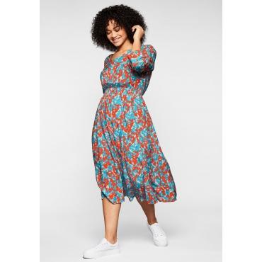 Kleid mit 3/4-Ärmeln und Alloverdruck, weiß bedruckt, Gr.44-58