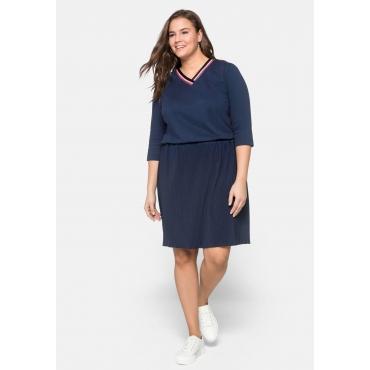 Kleid mit 3/4-Ärmeln und Plisseerock, marine, Gr.44-58