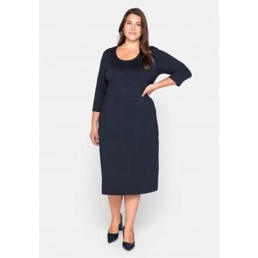 Kleid mit 3/4-Arm und dekorativen Teilungsnähten, nachtblau, Gr.44-58
