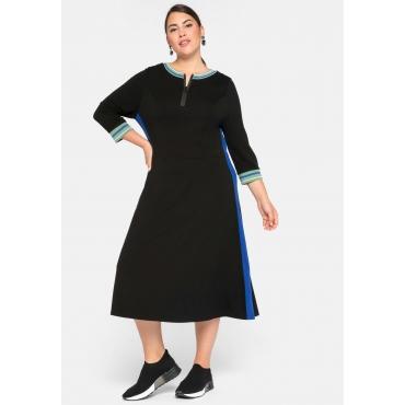 Kleid mit 3/4-Arm und gestreifte Rippbündchen, schwarz, Gr.44-58