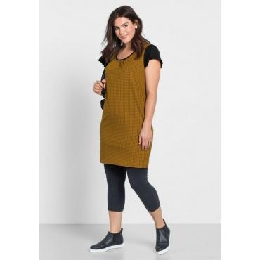Große Größen: Kleid mit Alloverdruck, curry, Gr.40-58