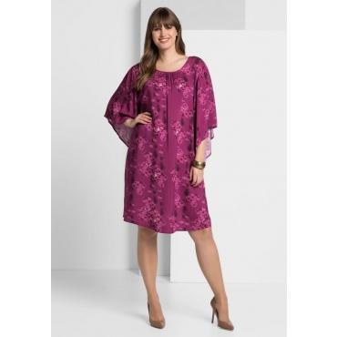 Große Größen: Kleid mit Alloverdruck, dunkelfuchsia, Gr.40-58