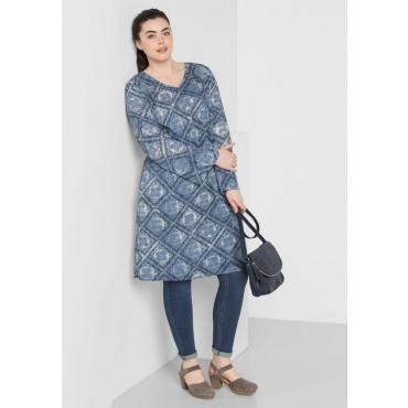 Große Größen: Kleid mit Alloverdruck, gemustert, Gr.44-58