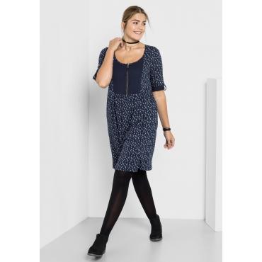 Große Größen: Kleid mit Alloverdruck, marine bedruckt, Gr.40-58
