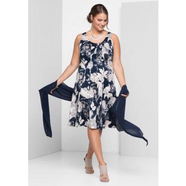 Große Größen: Kleid mit Alloverdruck, marine-weiß, Gr.40-58