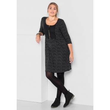 Große Größen: Kleid mit Alloverdruck, schwarz bedruckt, Gr.40-58