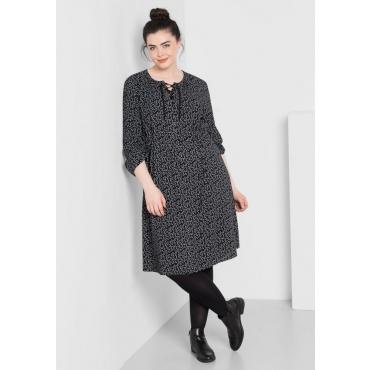 Große Größen: Kleid mit Alloverdruck, schwarz gemustert, Gr.44-58
