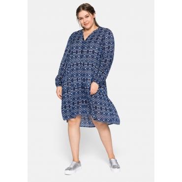 Kleid mit Alloverdruck und Stufendesign, nachtblau, Gr.44-58