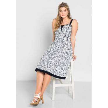 Große Größen: Kleid mit Alloverdruck, weiß bedruckt, Gr.40-58