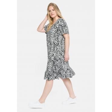 Kleid mit Animal-Alloverdruck und Volant am Saum, weiß-schwarz, Gr.40-58