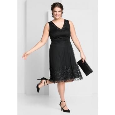 Große Größen: Kleid mit aufgesetzter Kordelspitze, schwarz, Gr.44-58