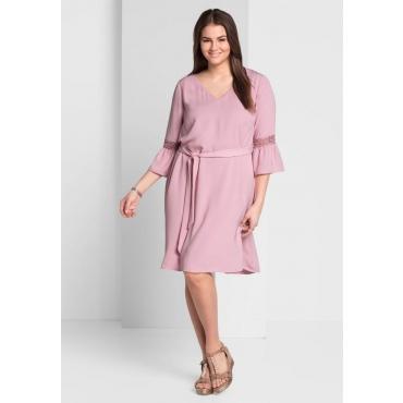 Große Größen: Kleid mit Bindegürtel, rosé, Gr.44-58