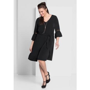 Große Größen: Kleid mit Bindegürtel, schwarz, Gr.44-58